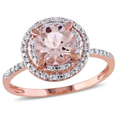 Womens Genuine Pink Morganite 10K Gold Engagement Ring