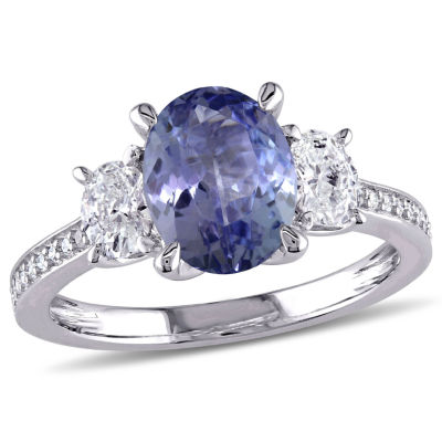 Modern Bride Gemstone Womens Genuine Purple Tanzanite 14K Gold Engagement Ring