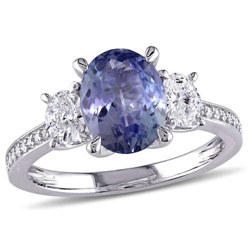 Womens Genuine Purple Tanzanite 14K Gold Engagement Ring