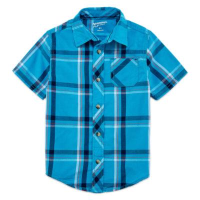 Arizona Boys Short Sleeve Button-Front Shirt - Preschool 4-7