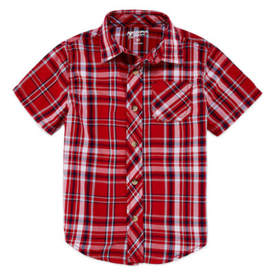 Arizona Boys Short Sleeve Button-Front Shirt - Preschool 4-7