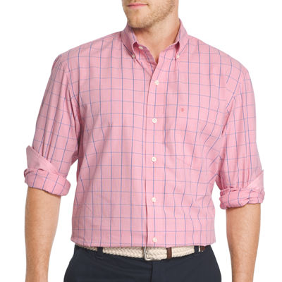 IZOD Mens Long Sleeve Essential End on End Windowpane Shirt