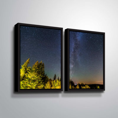 Brushstone Milky Way In Maine Horizontal 2-pc. Floater Framed Canvas Wall Art