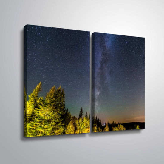 Brushstone Milky Way In Maine Horizontal 2-pc. Gallery Wrapped Canvas Wall Art