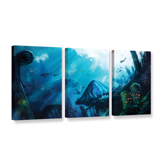 Brushstone Monument Of Azores 3-pc. Gallery Wrapped Canvas Wall Art