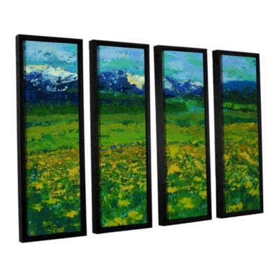 Brushstone Mountain Meadow (Wildflowers) 4-pc. Floater Framed Canvas Wall Art
