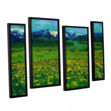 Brushstone Mountain Meadow (Wildflowers) 4-pc. Floater Framed Staggered Canvas Wall Art