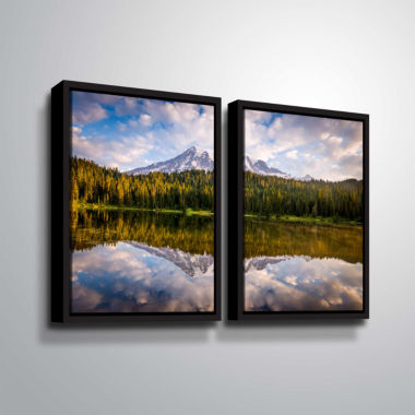 Brushstone Mt Rainer At Reflection Lakes 2-pc. Floater Framed Canvas Wall Art