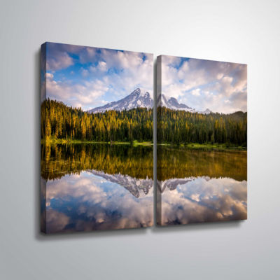 Brushstone Mt Rainer At Reflection Lakes 2-pc. Gallery Wrapped Canvas Wall Art