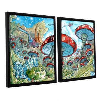 Brushstone Mushroom Forest 2-pc. Floater Framed Canvas Wall Art