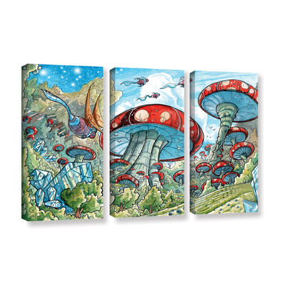 Brushstone Mushroom Forest 3-pc. Gallery Wrapped Canvas Wall Art