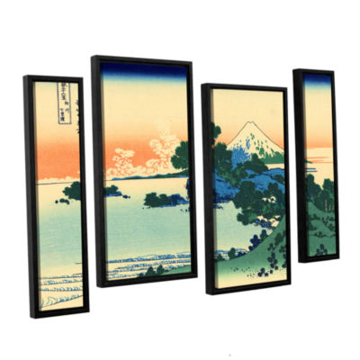 Brushstone Shichiri Beach In Sagami Province 4-pc.Floater Framed Staggered Canvas Wall Art