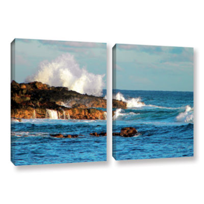 Brushstone Seascape (Rocky Coast) 2-pc. Gallery Wrapped Canvas Wall Art