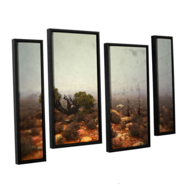 Brushstone Silent 4-pc. Floater Framed Staggered Canvas Wall Art