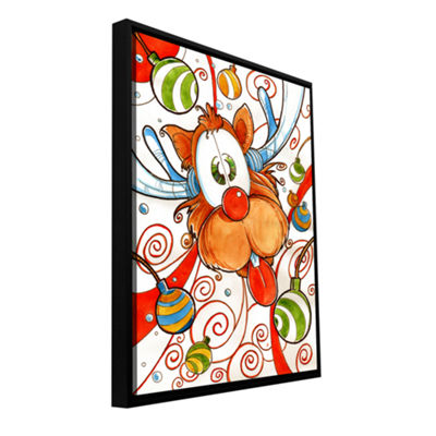 Brushstone Rudolph Red Nose Deer Gallery Wrapped Floater-Framed Canvas Wall Art