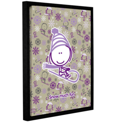 Brushstone Snow Much Fun Girl Gallery Wrapped Floater-Framed Canvas Wall Art