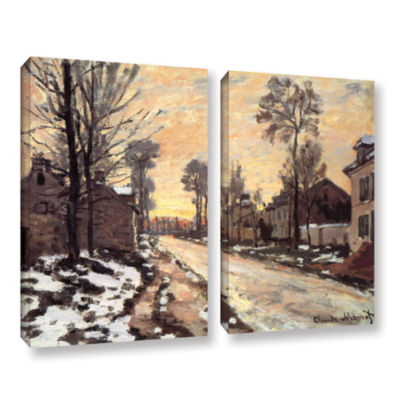 Brushstone Snowy Country Road 2-pc. Gallery Wrapped Canvas Wall Art