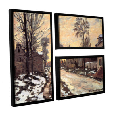 Brushstone Snowy Country Road 3-pc. Flag Floater Framed Canvas Wall Art