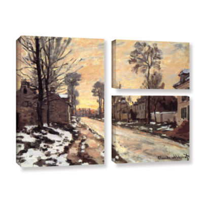 Brushstone Snowy Country Road 3-pc. Flag Gallery Wrapped Canvas Wall Art