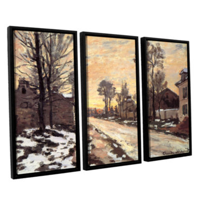 Brushstone Snowy Country Road 3-pc. Floater FramedCanvas Wall Art