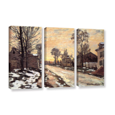 Brushstone Snowy Country Road 3-pc. Gallery Wrapped Canvas Wall Art