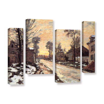 Brushstone Snowy Country Road 4-pc. Gallery Wrapped Staggered Canvas Wall Art