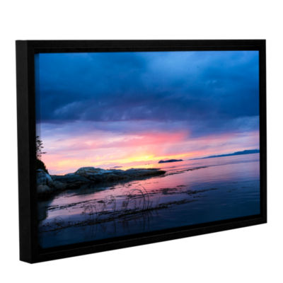 Brushstone Seascape Gallery Wrapped Floater-FramedCanvas Wall Art