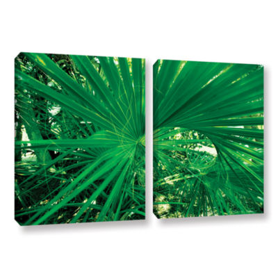 Brushstone Spiral Out Green 2-pc. Gallery WrappedCanvas Wall Art