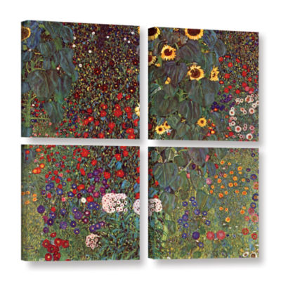 Brushstone Sunflower 4-pc. Square Gallery WrappedCanvas Wall Art