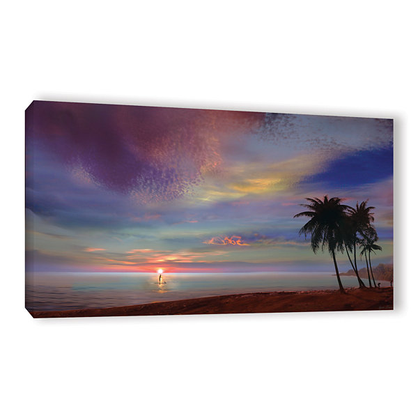 Brushstone Rowing At The Sunset Gallery Wrapped Canvas Wall Art