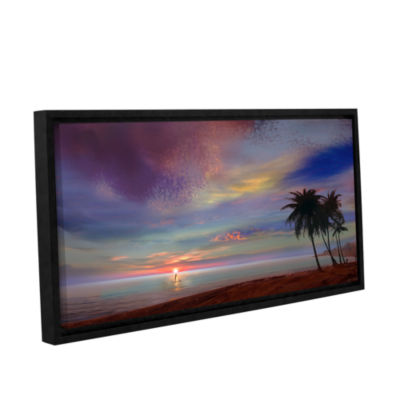 Brushstone Rowing At The Sunset Gallery Wrapped Floater-Framed Canvas Wall Art