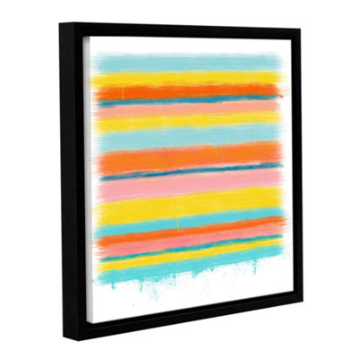 Brushstone Stripes Gallery Wrapped Floater-FramedCanvas Wall Art