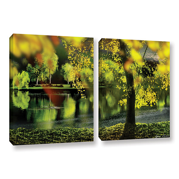Brushstone Spring Pond 2-pc. Gallery Wrapped Canvas Wall Art