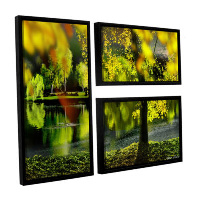 Brushstone Spring Pond 3-pc. Flag Floater Framed Canvas Wall Art