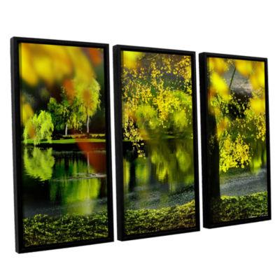 Brushstone Spring Pond 3-pc. Floater Framed CanvasWall Art