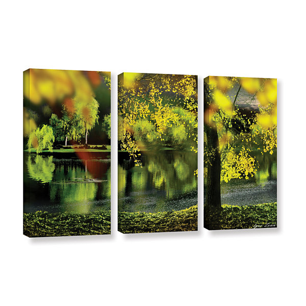 Brushstone Spring Pond 3-pc. Gallery Wrapped Canvas Wall Art