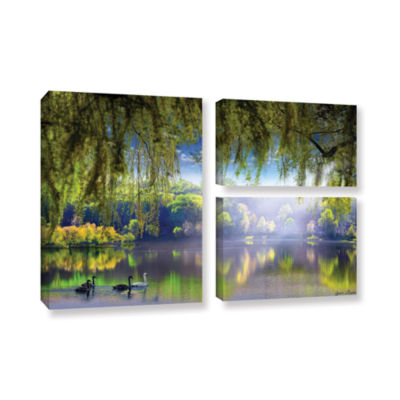 Brushstone Spring Waters 3-pc. Flag Gallery Wrapped Canvas Wall Art