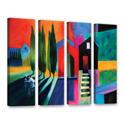 Brushstone Trying To Talk Her Into It 4-pc. Gallery Wrapped Canvas Wall Art
