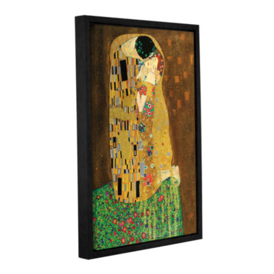 Brushstone The Kiss By Gustav Klimt Gallery Wrapped Floater-Framed Canvas Wall Art