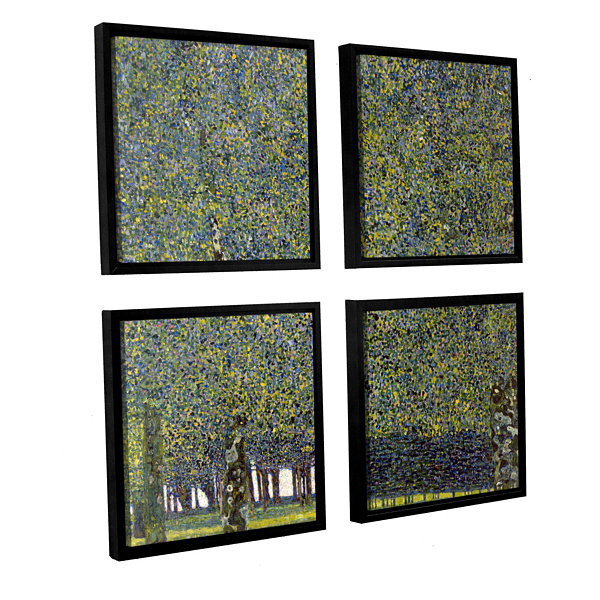 Brushstone The Park By Gustav Klimt 4-pc. Square Floater Framed Canvas Wall Art