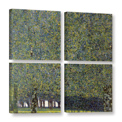 Brushstone The Park By Gustav Klimt 4-pc. Square Gallery Wrapped Canvas Wall Art
