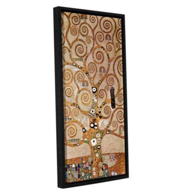 Brushstone Tree Life By Gustav Klimt Gallery Wrapped Floater-Framed Canvas Wall Art
