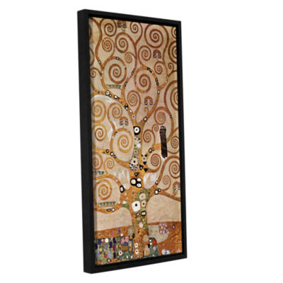 Brushstone Tree Life By Gustav Klimt Gallery Wrapped Floater-Framed Canvas Wall Art