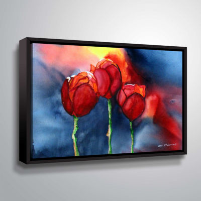Brushstone Tulips By Dan Mc Donnell Gallery Wrapped Floater-Framed Canvas Wall Art