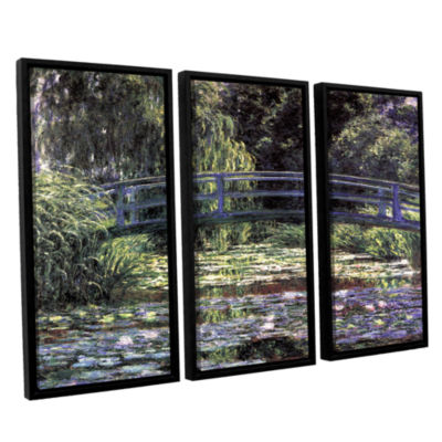 Brushstone The Japanese Footbridge  Giverny 3-pc.Floater Framed Canvas Wall Art