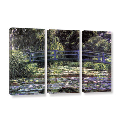 Brushstone The Japanese Footbridge  Giverny 3-pc.Gallery Wrapped Canvas Wall Art