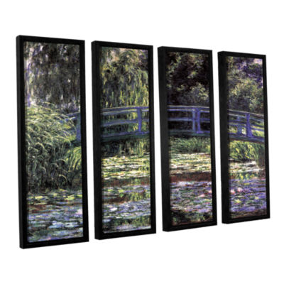 Brushstone The Japanese Footbridge  Giverny 4-pc.Floater Framed Canvas Wall Art