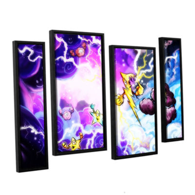 Brushstone Thunder 4-pc. Floater Framed StaggeredCanvas Wall Art