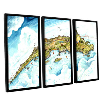 Brushstone Timor Island 3-pc. Floater Framed Canvas Wall Art