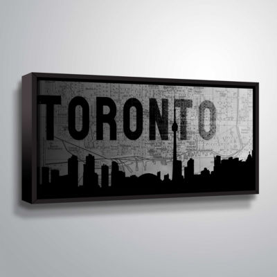 Brushstone Toronto (Map) Gallery Wrapped Floater-Framed Canvas Wall Art